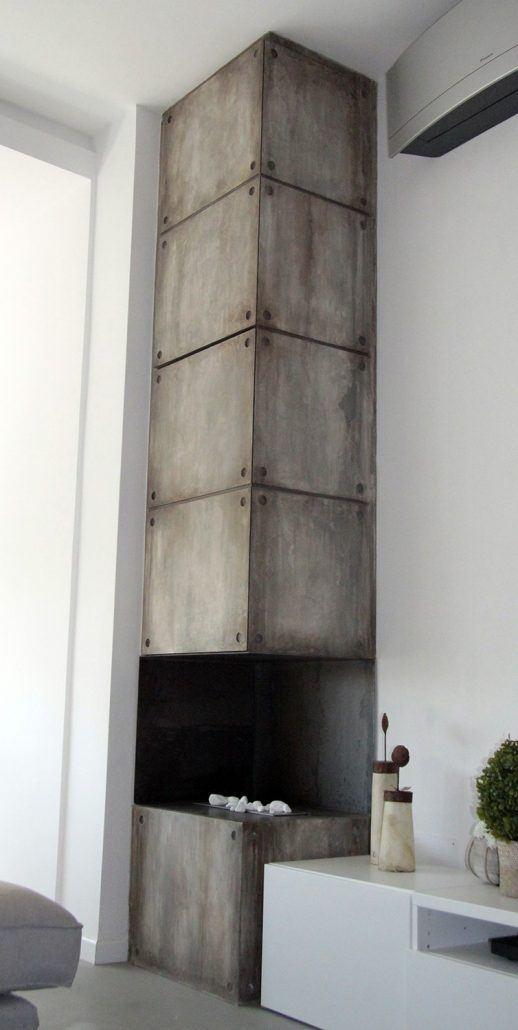 camino effetto cemento industriale