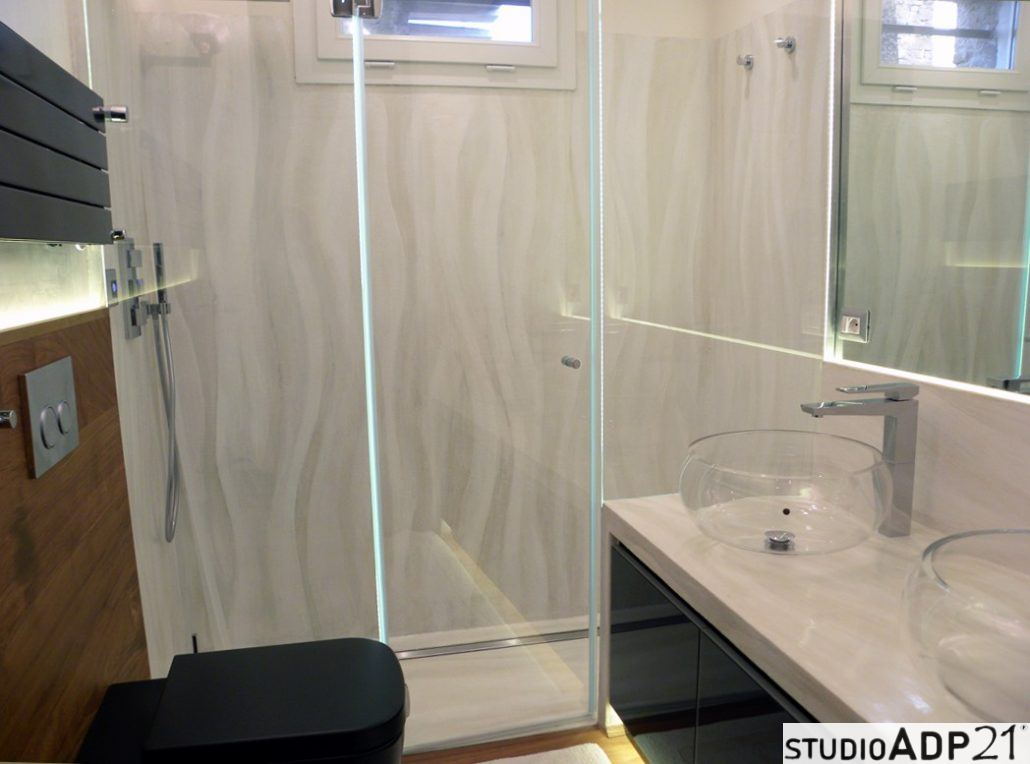 Elegant parete doccia piano doccia e piano lavabo in - Pareti doccia in resina ...