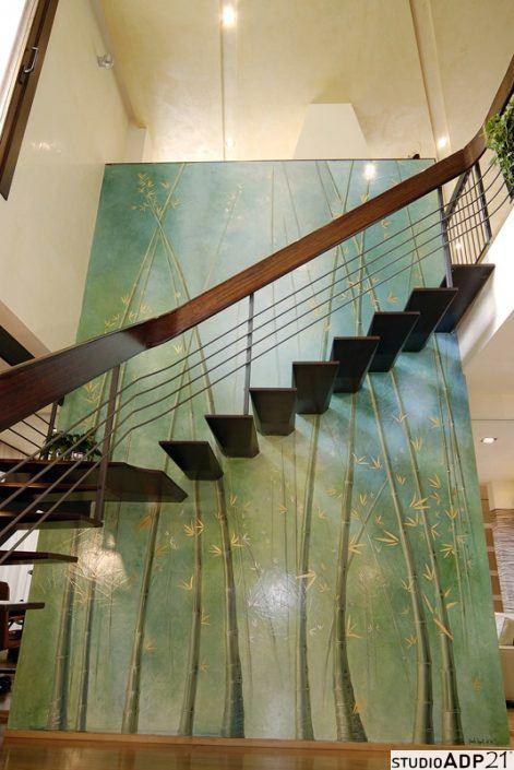 parete decorata per scala a vista