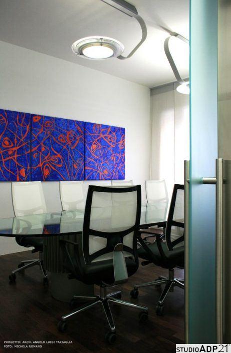 quadro moderno blu e arancio