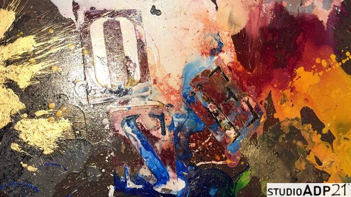 quadro moderno con colature colore