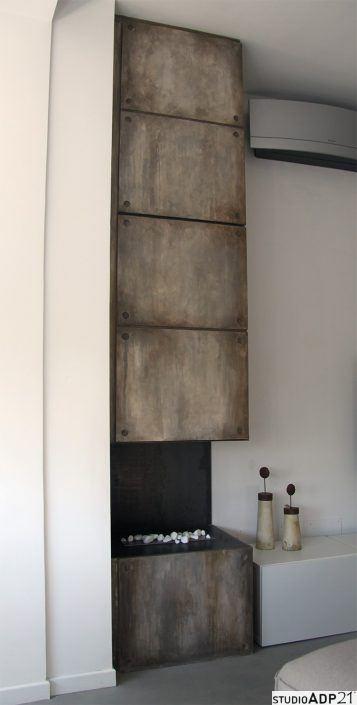 credenza a muro sospesa effetto cemento industriale