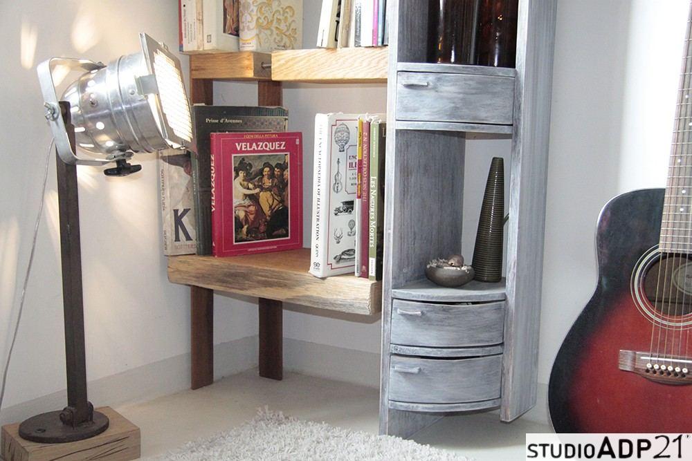 libreria legno grezzo cassetti