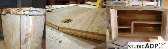 scarpiera in legno grezzo e ferro