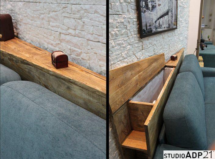 mobile in legno grezzo triangolare