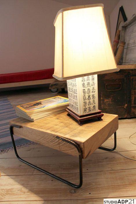 comodino basso ferro e legno