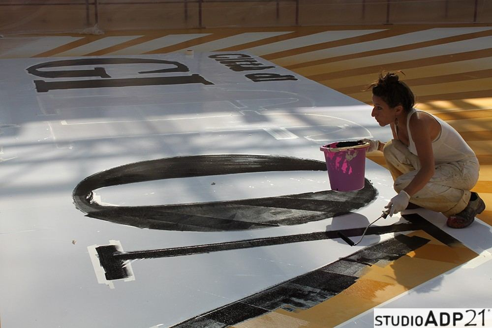 giffoni film festival: pavimento in resina decorato