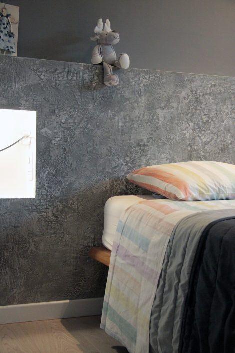 testata letto decorata effetto cemento
